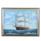 Hand Painted Oil Painting White Sails on the Sea with Wood Frame - White + Blue