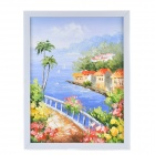 Hand Painted Oil Painting Small Beach Town with Wood Frame - Multicolored