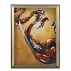 Hand Painted Oil Painting Abstract Glass with Life with Wood Frame - Brown + Red + Black