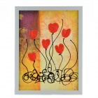 Hand Painted Oil Painting Abstract lily Blossom with Wood Frame - Multicolored