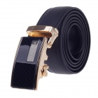 Wolf Car Stylish Stone Pattern Men's Cow Split Leather Belt w/ Zinc Alloy Automatic Buckle - Black