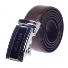 Wolf Car Stylish Men's Cow Split Leather Belt w/ Zinc Alloy Automatic Buckle - Brown