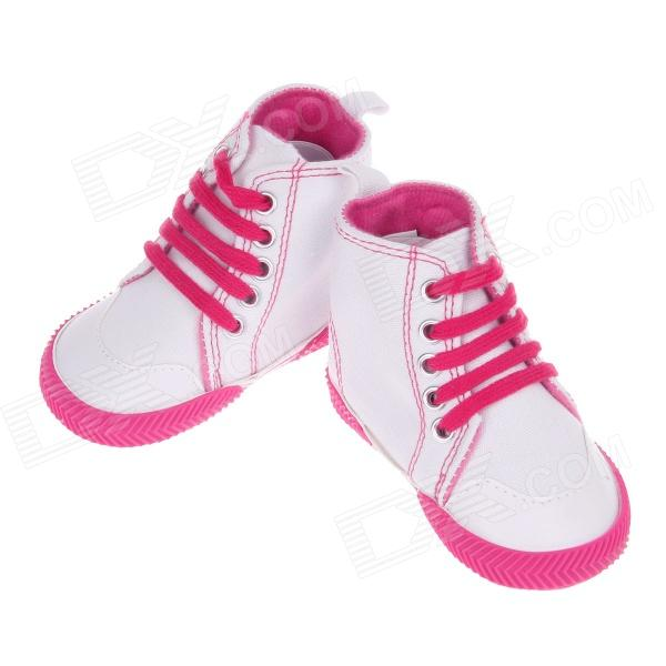 Cute Flower Pattern Tying Shoelaces Baby Shoes - White + Deep Pink (3~6 Month / Pair)