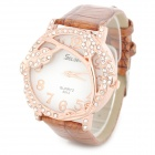 S012 Grapevine Style Rhinestone PU Band Analog Quartz Wrist Watch - Brown