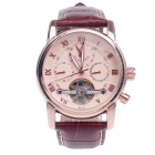 ORKINA MG051 Double-Side Hollow Style Automatic Mechanical Men's Wrist Watch - Brown+ Rose Gold