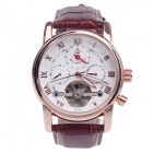 ORKINA MG051 Double-Side Hollow Style Automatic Mechanical Men's Wrist Watch - Brown + Golden +White