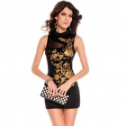 LC2668-2 Fashionable Charming Floral Foil Print Bodycon Dress for Women - Black + Golden (Free Size)