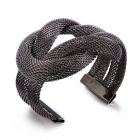eQute BPEW19C2 Unique Hematite Braided Mesh Cuff Women's Bracelet - Black