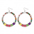 eQute ESSW1C99 Exaggerated Colorful Beads Hoop Earrings - Multicolored (Pair)
