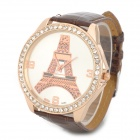 A685 Eiffel Tower Pattern Rhinestone PU Band Analog Quartz Wrist Watch - Brown + Gold