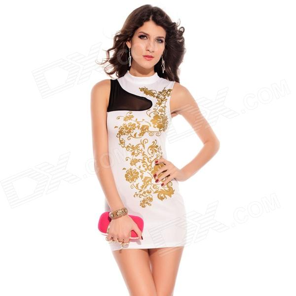 LC2668-1 Fashionable Charming Floral Foil Print Bodycon Dress for Women - White + Golden (Free Size) fashionable 3 4 sleeve floral print dress for women