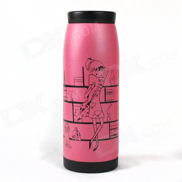 Girl Pattern Stainless Steel Vacuum Bottle - Pink (350ml)