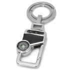 Fashion Zinc Alloy + Leather Keychain w/ Compass - Black + Silver