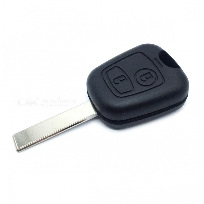 AML031381 Replacement 2-Button Remote Key Case for Citroen / Peugeot - Black + Silver