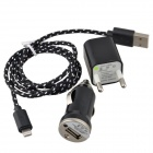 US Plug Charger Adapter + Car Charger + Lightning 8-Pin Male to USB Male Cable for iPhone 5c - Black