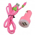 Car Charger + Lightning 8-Pin Male to USB 2.0 Male Cable for iPhone 5c / 5s - Deep Pink + Pink