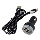 Car Charger + Lightning 8-Pin Male to USB 2.0 Male Cable for iPhone 5s / 5c / iPad 4 + More - Black
