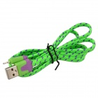 Nylon Lightning 8-Pin Male to USB 2.0 Male Data Sync / Charging Cable for iPhone 5s / 5c - Green