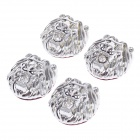 OUSHIBA OB-501 Lion Head Style Shining Rhinestone Plastic Car Decorative Stickers - Silver (4 PCS)