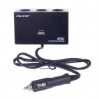 HSC YC-409 1-to-3 120W Car Cigarette Lighter Power Splitter Adapter w/ 3-in-1 Data Cable - Black