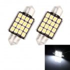 Girlande 36mm 1,6W 80lm Acriche 16-SMD 1210 LED weiß Licht Decodierung Auto Dome Leselampe (12V / 2 PCS)
