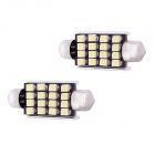 Festoon 42mm 1.6W 128lm 16-SMD 1210White Light Decoding Car Dome Reading Lamp (12V / 2 PCS)