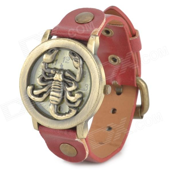 B055 Scorpion Style Flip-Open Analog Quartz Wrist Watch for Women - Red + Bronze