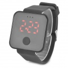 Square LED Rubber Band Digital Wrist Watch - Black