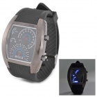 LED Auto Meter Dial Rubber Band Digital Quartz Wrist Watch for Men - Black
