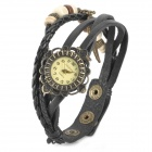Split Leather Band Analog Quartz Wrist Watch for Women - Black
