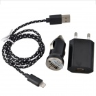 EU Plug Power Adapter + Car Charger + Lightning 8-Pin Male to USB Male Cable for iPhone 5c - Black