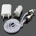 EU Plug Power Adapter + Car Charger + Lightning 8-Pin Male to USB Male Cable for iPhone 5c - White