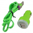 Car Charger + Lightning 8-Pin Male to USB 2.0 Male Data / Charging Cable for iPhone 5c / 5s - Green