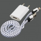 EU Plug Charger Adapter + Flat Lightning 8-Pin Male to USB 2.0 Male Data Cable for iPhone 5c - White