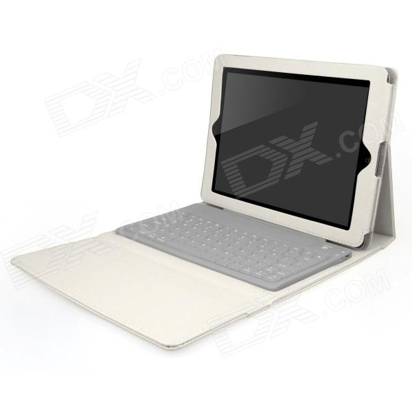 ENK-KB02 Bluetooth V3.0 76-Key Keyboard Protective PU Leather Case for Ipad 1 / 2 / 3 / 4 - White