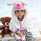 Hip-Hop-Katze Cute Dog Design Flanell Baby-Kind-Umhang - Weiß + Pink