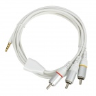 3.5 mm Jack to 3 RCA Adapter Audio Video Cable - White