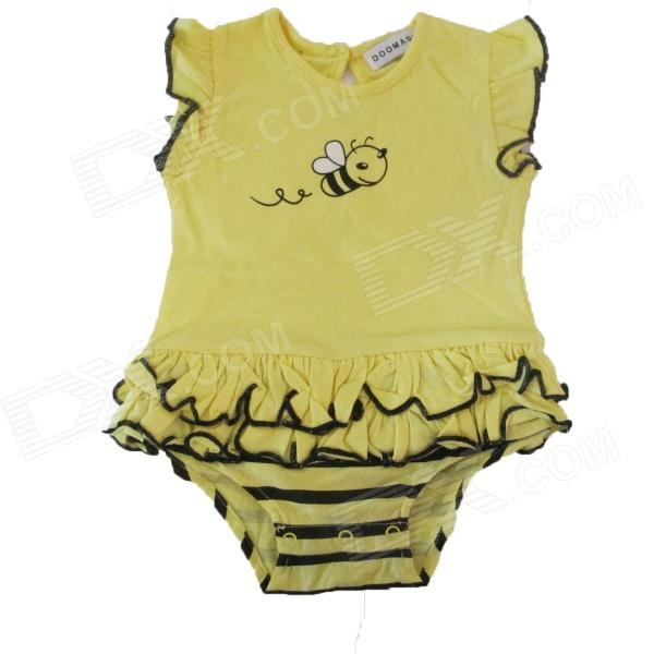 Doomagic Bee Style Cotton Baby Romper - Black + Yellow