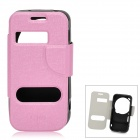 Stylish Protective PU Leather Case w/ Display Window for Samsung S4 C101 - Pink