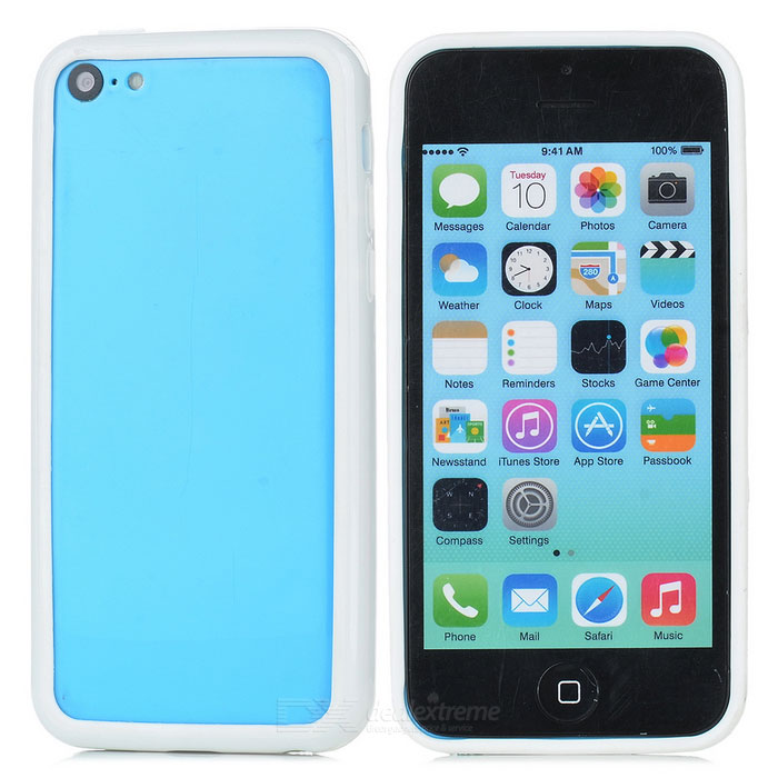 Protective TPU + PC Bumper Frame for Iphone 5C - White protective tpu   pc bumper frame for lg