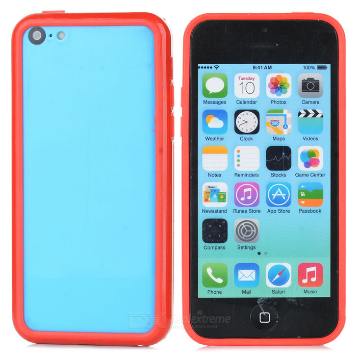 Protective TPU + PC Bumper Frame for Iphone 5C - Red protective tpu   pc bumper frame for lg