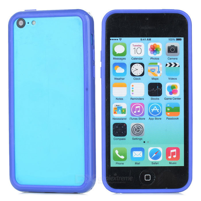 Protective TPU + PC Bumper Frame for Iphone 5C - Dark Blue stylish glow in the dark protective pc pu bumper frame case for iphone 5c orange