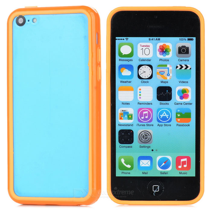 Protective TPU + PC Bumper Frame for Iphone 5C - Orange protective tpu   pc bumper frame for lg