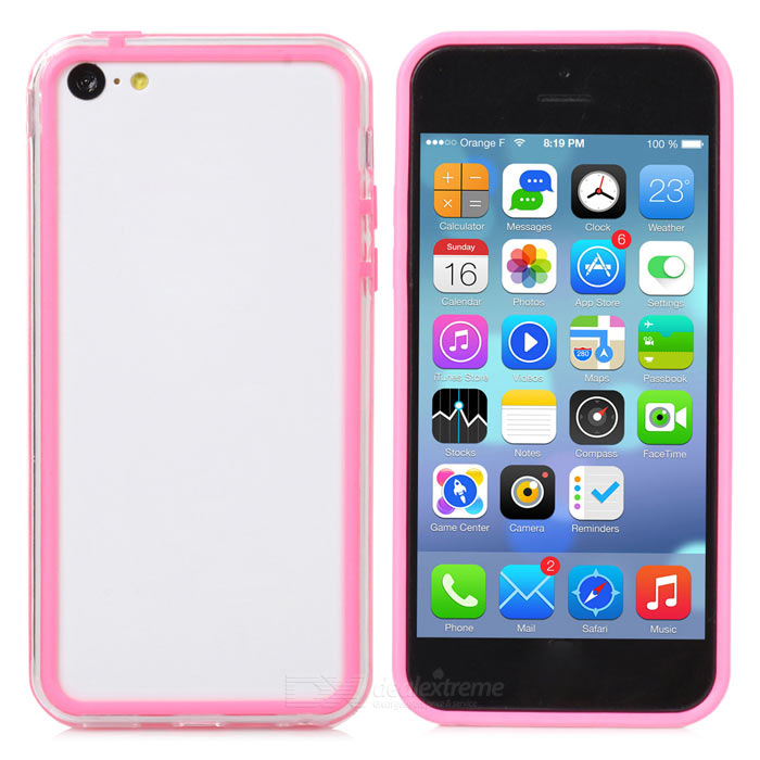 Protective PC + TPU Bumper Case for Iphone 5C - Transparent + Pink