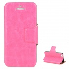Stylish Protective PU Leather Case for Iphone 5 - Deep Pink
