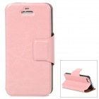 Crazy Horse Pattern Protective PU Leather Case w/ Stand for Iphone 5 - Pink