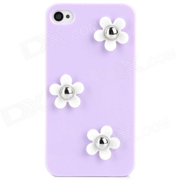 Flower Style Protective Plastic Back Case for Iphone 4 / 4S - Purple + White