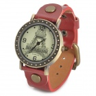 Eiffel Tower Pattern PU Leather Band Analog Quartz Wrist Watch for Women - Red + Bronze