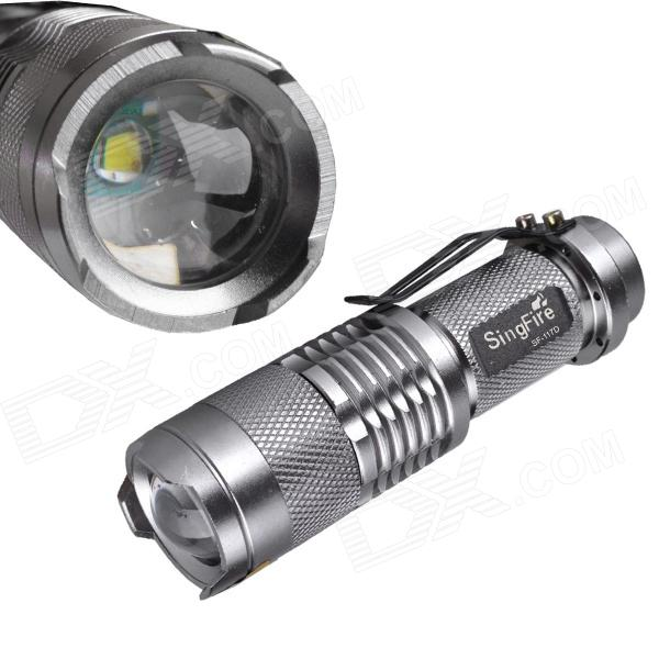 SingFire SF-117D 180lm 3-Mode Zooming Flashlight w/ Cree XRE Q5 - Silver (1 x AA / 14500) singfire sf 117e 180lm 3 mode white zooming flashlight w cree xr e q5 red 1 x aa 14500