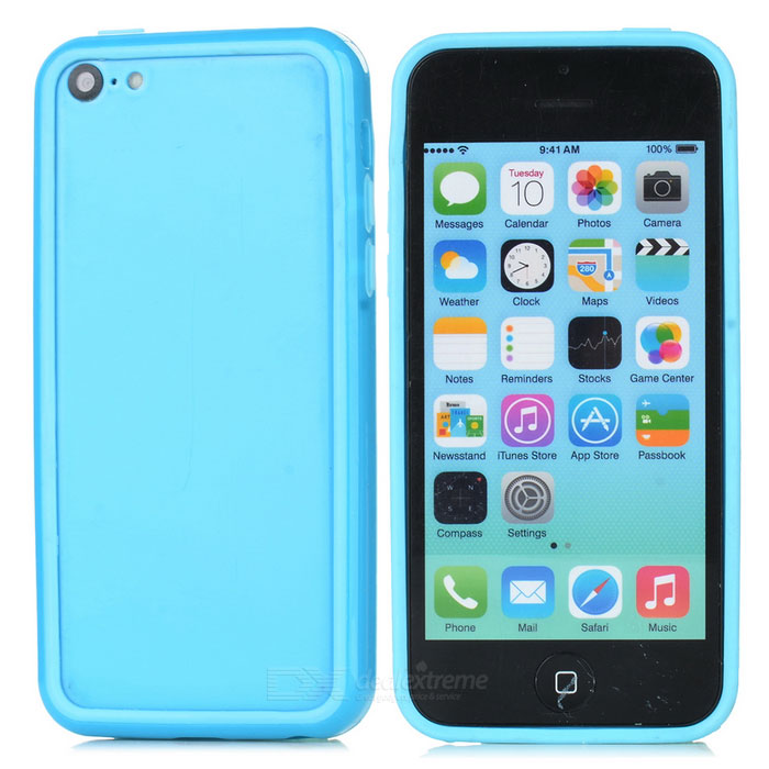 Protective TPU + PC Bumper Frame for Iphone 5C - Light Blue protective tpu   pc bumper frame for lg